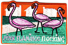 """""""PINK FLAMINGO FLOCKING""""- Iron On Embroidered Applique Patch/Tropical Birds"""