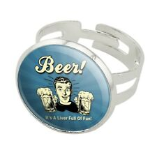 Beer It's a Liver Full of Fun Funny Humor Silver Plated Adjustable Novelty Ring
