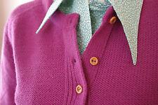 Strick Jacke OVP 80er Jahre True Vintage Damen lila Gr.42 NOS shirt knitted L