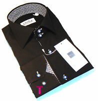 Brand New Mens Formal Black and White Smart Italian Design Collar Slim Fit Shirt