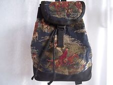 Artisan Treasures Handcrafted Equestrian Fox Hunt Navy Back-Pack Purse NEW
