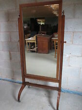 Edwardian Mahogany inlaid rectangular cheval dressing mirror (ref 1243)