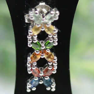 NATURAL FANCY CLR SAPPHIRE WITH CHROME DIOPSIDE PENDANT 925 SILVER