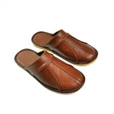 Genuine Leather Women Men House Slippers Autumn Spring Indoor Flat Shoes Slip On