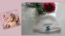 ★★★NEU Baby Fotoshooting Mütze weiß mit Perlen Turbanmütze 0-4 Monate★★★F1