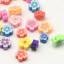 50 BULK Beads Polymer Clay Beads Flower Beads Assorted Lot 8mm