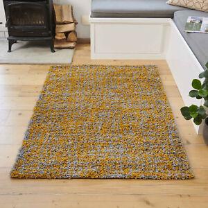Ochre Yellow Abstract Shaggy Rug Dense Shag Rug Thick Soft Bedroom Rug CLEARANCE