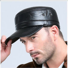 Mens Womens Black Solid Leather Biker Flat Cap Adjustable Motorcycle Peaked Hat