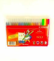 Stabilo Trio A-Z Felt Tip / Fibre Tip Pens In Wallet Of 24 Assorted Colours