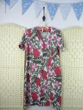 VINTAGE poly/viscose leafy floral boho/festival/summer tea/shirt  dress  L