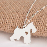 2019 Hot Silver/Gold Schnauzer Dog Heart Pet Lover Link Chain Necklace for Girls