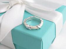 New Tiffany & Co Silver White Enamel Signature X Stacking Ring Band Size 8