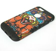 For iPhone 6 / 6S - HARD&SOFT RUBBER HYBRID SKIN CASE BROWN FLOWERS with MONKEY