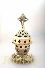 Greek Byzantine Orthodox Brass Church Votive Vigil Table Oil Lamp Cross 9353B