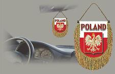 POLAND REAR VIEW MIRROR WORLD FLAG CAR BANNER PENNANT
