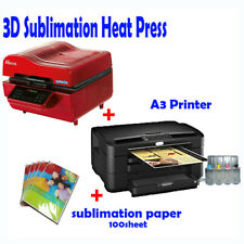3D VACUUM DYE SUBLIMATION ink HEAT PRESS+ A3 Printer(with ink)+ Paper