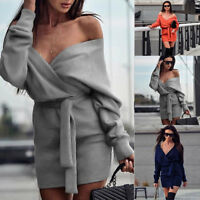 Women Winter Knitted Sweater Bodycon Deep V Neck Long Pencil Party Dress 3Colors