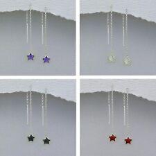 925 Silver *Tiny* Star Cubic Zirconia Pull Through Threader Earrings Gift Bag UK