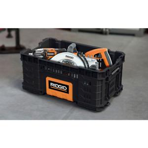 RIDGID Tool Box Storage Bin Tray Heavy Duty Portable Jobsite Work 22 Inch Black