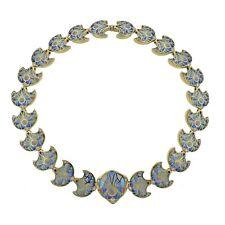 18k Gold Necklace Plique A Jour Diamond