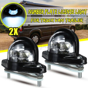 2pcs Universal Number Plate License Light 6 LEDs For RV Trailer Truck Lamp