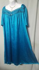 "ANTHONY RICHARDS  DARK TEAL  W/TRIM NYLON 45"" LONG  NIGHTGOWN  SIZE 4X GIFT"