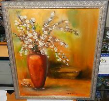RUTH BARRESON ORIGINAL OIL ON CANVAS FLORAL VASE PAINTING