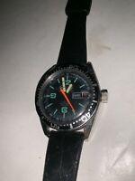 Chalet 1970s Digital Black  Swiss Made Tachymetre 200 Feet Diver Windup Watch