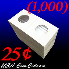 (1000) Quarter Size 2x2 Mylar Cardboard Coin Flips for Storage | 25 Cent Bulk