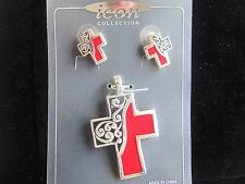 """Large 2"""" Filigree Pendant and Earring Set  Silver tone with Red Material paint"""