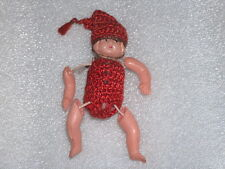 VINTAGE ANTIQUE CUTE SMALL CELLULOID DOLL TOY IN ORIGINAL COSTUME, JAPAN