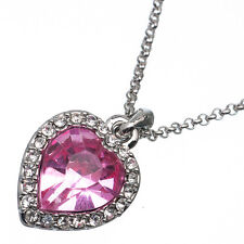 5.36 Ct Heart Cut Style Shape Pink Sapphire CZ 18K White Gold Plated Pendant
