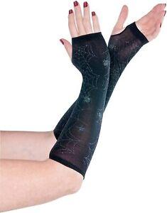 Sheer Web Arm Warmers Black Halloween Womens Fancy Dress Costume  Accessory