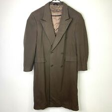 Vintage Christian Dior 100% Wool Overcoat Mens Size L Long Double-Breasted 80s