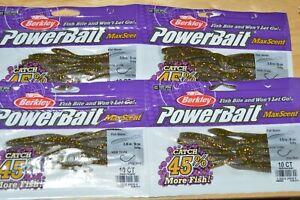 "4 bags berkley powerbait maxscent flat worm goby 3.6"" drop shot smallmouth lure"