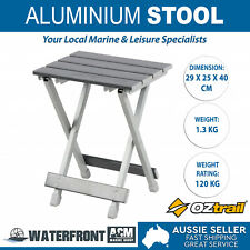 OZtrail Folding Stool White Aluminum Outdoor Camping Fishing BBQ Foldable Chair