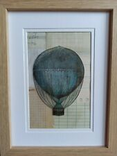 Silhouette Vintage Black / Blue Hot Air Balloon Framed Handmade Room Decor New
