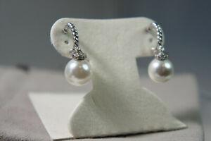 David Yurman 925 Silver 585 Gold 10 mm Pearl SOLARI Diamond Cable Earrings Pouch