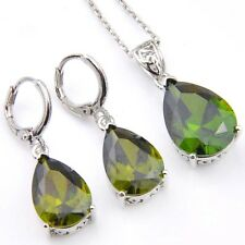 Jewelry Set Water Drop Natural Olive Peridot Gems Silver Dangle Earrings Pendant