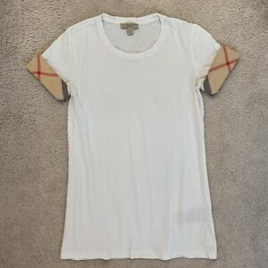 Burberry Brit Women's White Vintage Check Print Stretch T-shirt Top Size XS