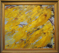 """Mimosa.Original framed oil over acrylic pouring on canvas 16""""x18""""  painting"""