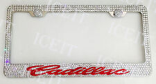 Cadillac Stainless license plate frame Madewith Swarovski Crystals Red/ Clear