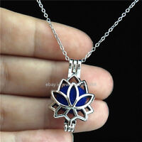 K-52 Fragrance Silver Bead Cage Lotus Locket Necklace Stainless Chain