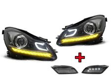 12-14 MBZ W204 C Class AMG Style Projector LED Headlight + LED Smoke Side Marker