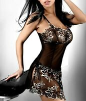 Floral Polyester Gowns Plus Black Chemise Sleepwear Lingerie Babydoll Size S-6XL
