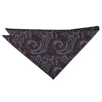 Burgundy & Navy Hanky Handkerchief Woven Floral Royal Paisley Accessory by DQT