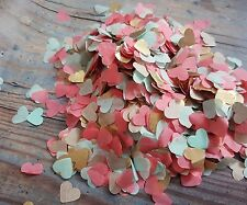 MINT, GOLD  AND CORAL HEARTS CONFETTI WEDDING DECORATION/THROWING/ECO 2 HANDFULS