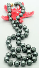 Genuine 8mm south sea black shell pearl round beads necklace 18 inches jewelry