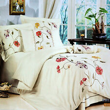 Quilt Cover Set of 4 Cotton Embroidered Quilt Cover, Sheet & 2 Pillow Cases KING