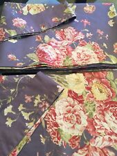 Waverly Masterpiece Garden Unlined Curtains Blue Cabbage Rose Cottage Floral